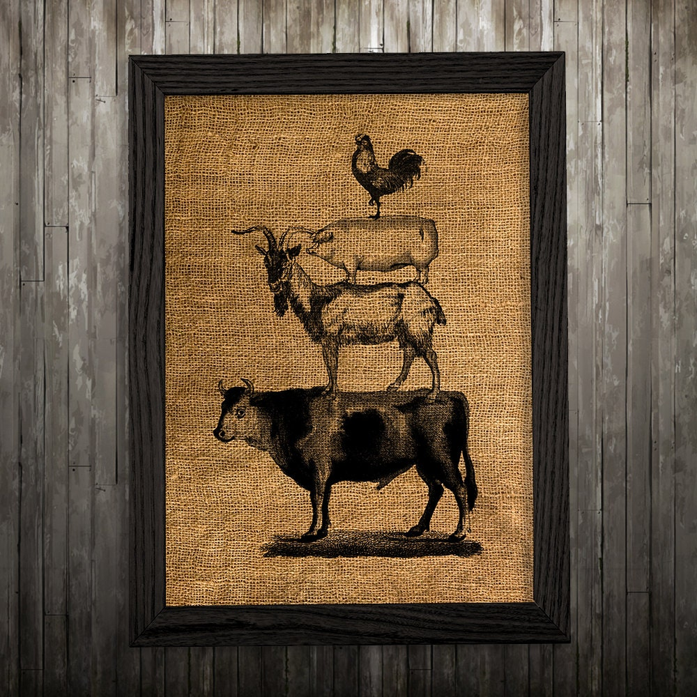 Rustic Burlap Wall Decor : Rustic wall art burlap print animal poster farm cattle
