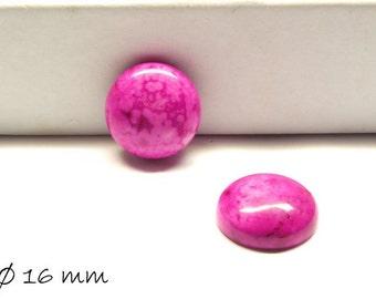 2 PCs cabochons, crazy agate, pink, 16 mm