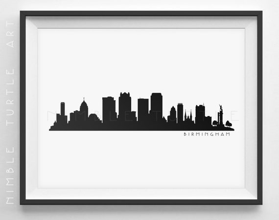 Birmingham skyline silhouette printable skyline for Tattoos in tuscaloosa