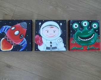 Set space themed children's paintings