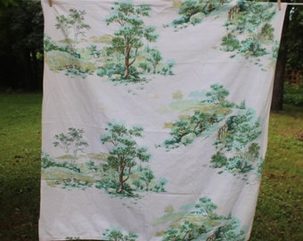 Vintage Fabric with Trees and Bridges