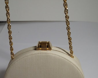 Vintage Rodo White Textured Gold-Plated Clutch / Shoulder Bag / Made in Italy