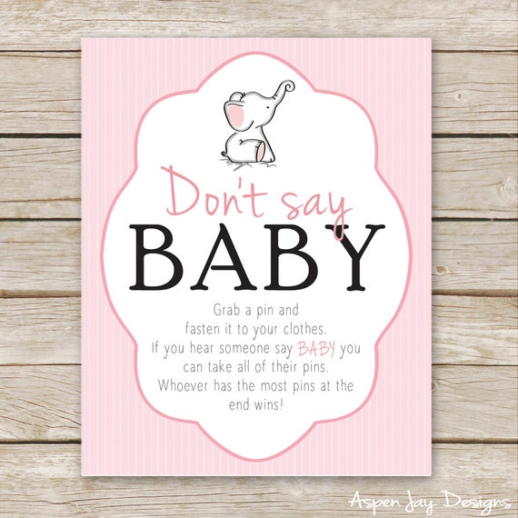Pink Elephant Baby Shower Don't Say Baby Game Sign