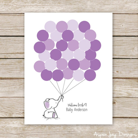 purple elephant balloon signature guest book printable for