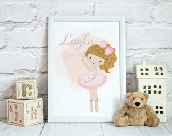 Ballet dancer, pink,watercolour, wall art, kidsbedroom