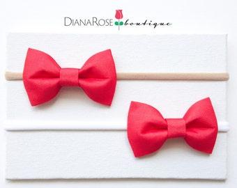 Christmas Red Bow Fabric Headband Mini Baby Hair Clip Christmas Headband Baby Headband Baby Bow Red Nude White Nylon Headband Holiday