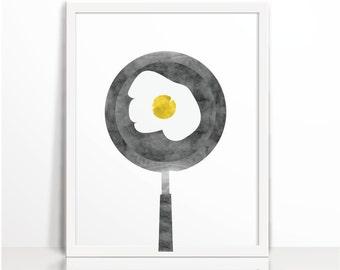 Kitchen art print, kitchen printable, Fried egg,  food print,  Watercolor, nursery, food, Art Printable, kids printable, wall art prints