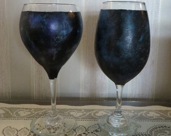Hand painted Galaxy Wine Glasses