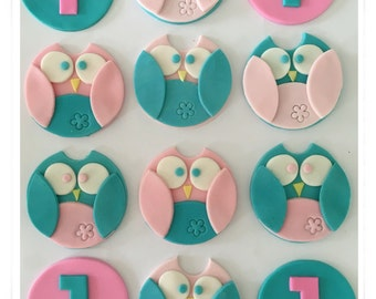Set of 12 Owl Cupcake toppers