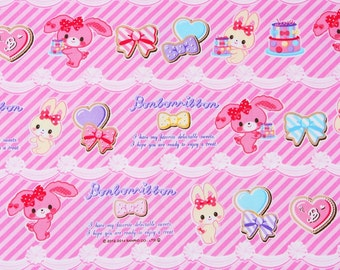 """Bonbon Ribbon Sanrio Character Fabric made in Japan, 45cm by 53cm or 18"""" by 21"""""""