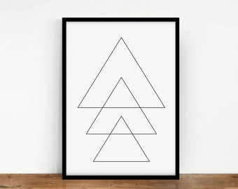 Geometric Print, Triangles Geometric Poster, Digital Wall Art, Triangles Print, Geometric Wall Decor, Triangles Wall Print, Printable Art