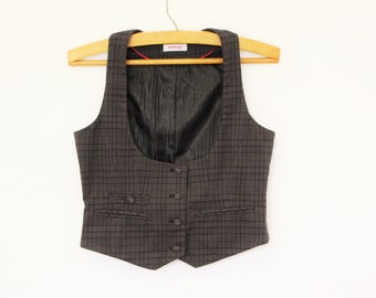 Gray Plaid Vest  Womens Grey Checkered Waistcoat  Tartan Vest Formal Fitted Romantic Victorian Ladies Classic  Cottage Chic Small  to Medium