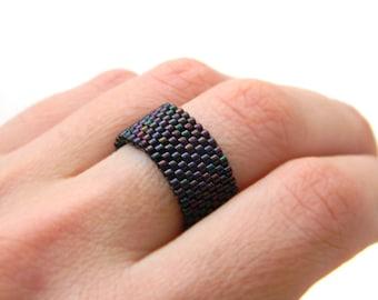 Minimalist ring Simple band ring Dark purple ring Dark violet ring Beaded ring Minimalist jewelry Everyday ring Elegant ring 10 mm wide ring