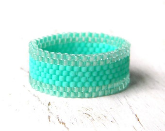 Aqua turquoise band ring Everyday beaded ring size 4 5 6 7 8 9 10 11 12 13 14 15 Womens band ring Fashion rings for women Seed bead jewelry