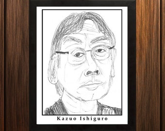 Kazuo Ishiguro - Sketch Print - 8.5x11 inches - Black and White - Pen - Caricature Poster
