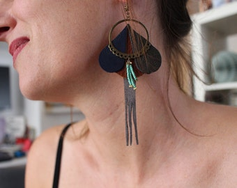 3 leather earring