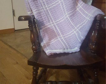 Lavender and white afghan