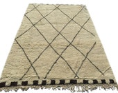 Over-Sized Authentic Handwoven Berber Moroccan Beni Ourain Rug all natural organic undyed wool