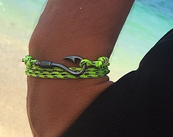 Fishing Bracelet, Men's Bracelet, Matte Black Fish Hook Man's Jewelry, Colorfull Cord Bracelet.