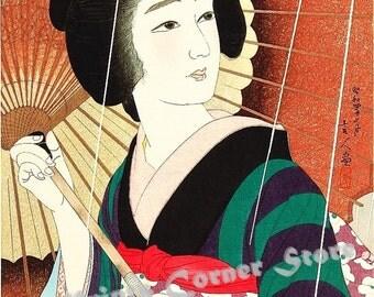 Ukiyo-e reprint,Preboarded,a lady,Torii Kotondo,woodblock,decor,Japanese,tk35