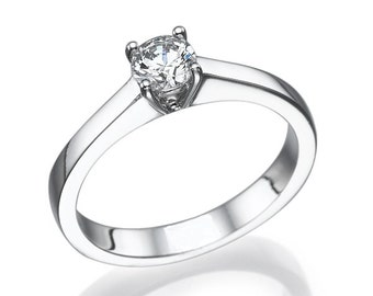 A commitment to classic white gold ring shouting simplicity and beauty 0.35 CT
