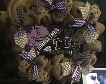 TCU, horned frogs, burlap, burlap wreath, purple, white, tim sign, tcu wreath, free shipping, wreaths, texas, christian, university