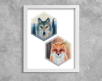 Printable Art, Modern Wall Art, Wall Decor, Digital Download, animals print, fox, wolf, wild animal, geometric print
