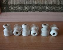 Set of 6 white Ceramic or Porcelain Electric Insulators USSR Soviet Union Small mini insulators vintage electric isolator