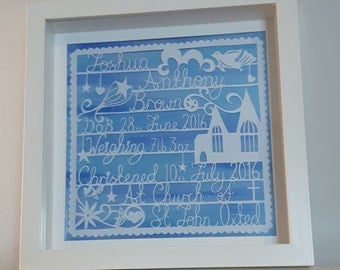 Customised Christening Paper Cut