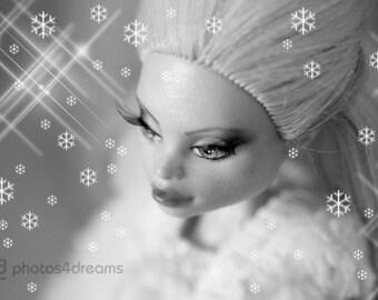 """OOAK Monster High Girl """"Snowqueen"""" - custom repaint Abbey Bominable"""