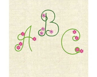 Machine embroidery monogram fonts flower font