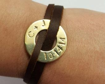 Personalized washer bracelet, Personalized leather bracelet, Genuine leather bracelet, Handstamped bracelet, Anniversary date bracelet