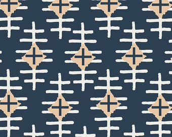 Path Marker Slate, Bound Collection, April Rhodes, Art Gallery Fabrics, Navy Fabric, Fabric by the yard,