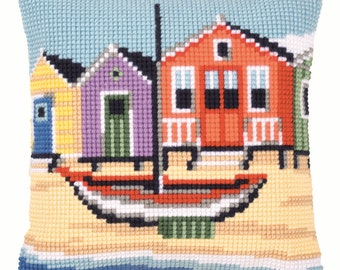 Vervaco Cross Stitch Kit Boat Cushion Front PN0145640