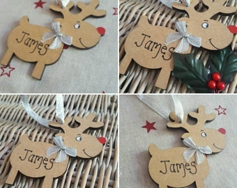 Personalised reindeer christmas tree bauble. Any name can be added.