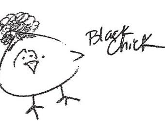 Black Chick Long Sleeve Crop Top