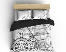 Lightweight Bedding - Black Pirate Ship Storm Printed on White - Comforter Cover - Pirate Ship Duvet, Ocean Art Bedding Set