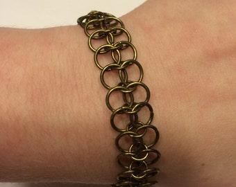 Oxidized Brass Chainmail Bracelet