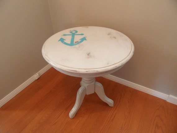 Off white round wood end table refurbished by roxyshouse for Off white round table