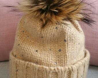Hat in cashmere and crystals swarovski Constellations