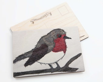 Robin Wooden Postcard