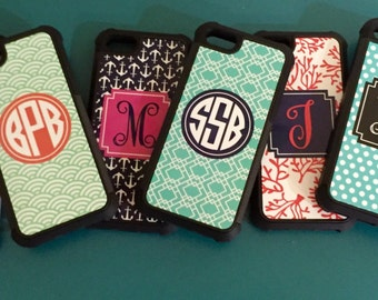Monogrammed iPhone Cases (6, 6s, 6plus and 5) - Personalized Phone Case Rubber Bumper Case Gifts For Her Stocking Stuffer Best Selling