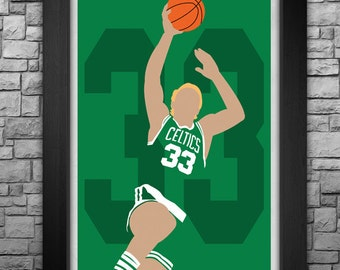 LARRY BIRD minimalism style limited edition art print. Choose from 3 sizes!