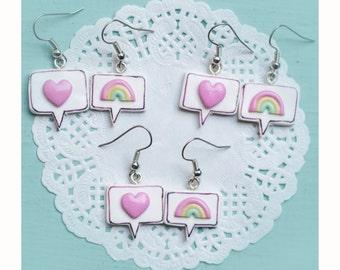 Heart earrings and Rainbow-Heart and rainbow earrings