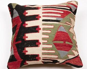 Vintage 15'' Handmade Kilim Pillow - Bohemian Cushion 2685