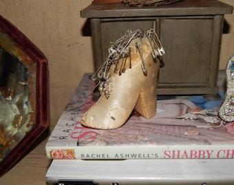 Darling Antique Silk Boot Pin Cushion