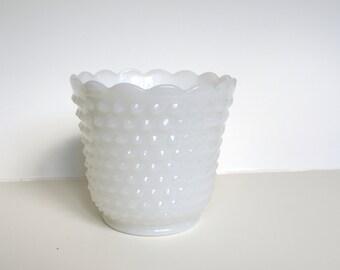 Milkglass Planter Vase   Succulent Planter, Milkglass Vase, Hobnail Vase