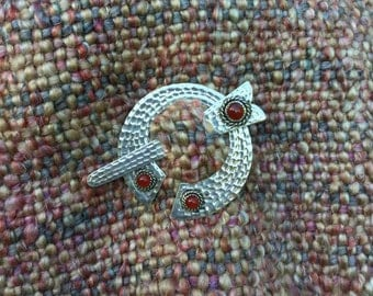 Silver Pen-Annular Brooch, Pen-Annular Shawl Pin, Silver and Carnelian Celtic Brooch, Viking Shawl Pin, Silver and Carnelian Shawl Pin