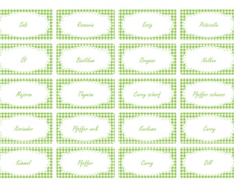 the label 65 x spice labels | light green Vichy design | Stock labels | Household labels