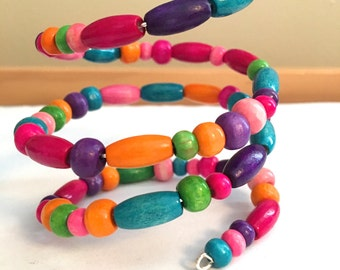 Hand-made Wired Bracelet with Colorful Beads